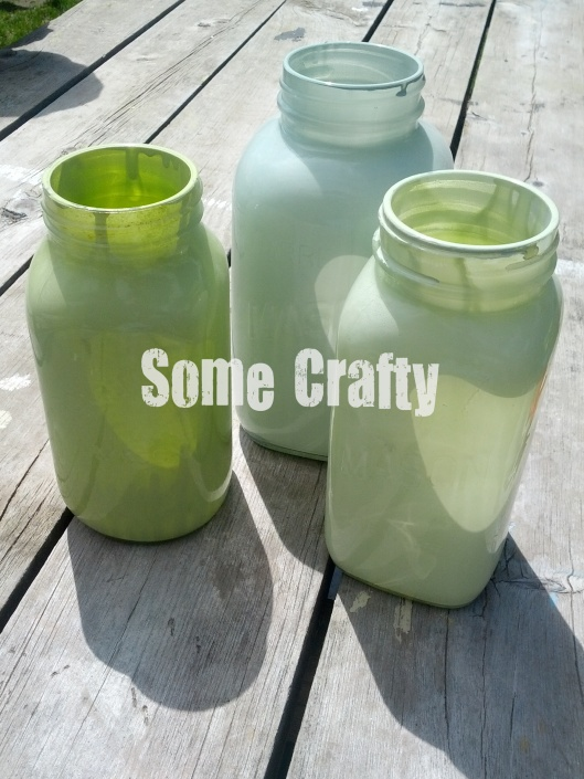 Mason Jars painted inside with spray paint